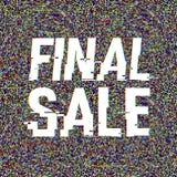 Texto final de la interferencia de la venta Efecto del anáglifo 3D Fondo retro tecnológico Concepto en línea de las compras Venta ilustración del vector
