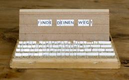 Texto: Finde Deinen Weg Fotos de archivo libres de regalías