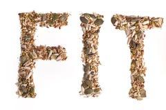 Texto FIT de las semillas mezcladas Fotografía de archivo