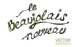 Texto francês do nouveau do Beaujolais, vinho novo Fotografia de Stock