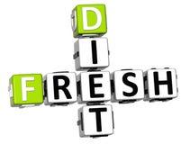 texto fresco das palavras cruzadas da dieta 3D Fotos de Stock Royalty Free
