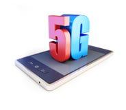 texto 5G del ANG del smartphone 5G Fotografía de archivo