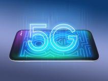 texto 5G en el teléfono elegante Imagen de archivo