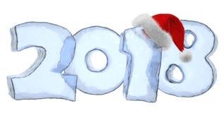 Texto gelado do ano 2018 novo com chapéu vermelho ilustração stock