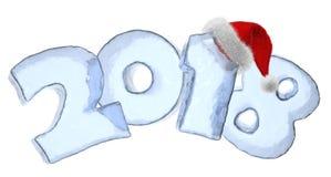 Texto gelado do ano novo 2018 com chapéu vermelho ilustração do vetor