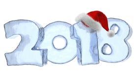 Texto gelado do ano novo feliz 2018 com chapéu vermelho ilustração royalty free
