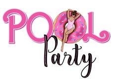 Texto gráfico - cartão do convite - convite do partido - texto da festa na piscina Foto de Stock