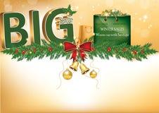 Texto grande da venda 3D - fundo do azul do feriado de inverno Foto de Stock