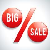 Texto grande da venda no sinal de porcentagem Imagem de Stock