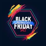 Texto grande de la venta 2017 de Black Friday en marco del hexágono stock de ilustración