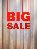 Texto grande de la venta, en fondo de madera. + EPS10 Imagen de archivo