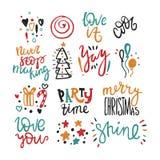 Texto grande do desenho da mão do vetor do grupo para o Feliz Natal Party o tempo imagens 3d isoladas no fundo branco fresco Foto de Stock Royalty Free
