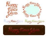 Texto handdrawn de las letras del cepillo de la Feliz Año Nuevo en el fondo blanco Imagen de archivo libre de regalías