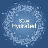Texto hidratado estada As bolhas azuis da ?gua da bebida envolvem o cart?o ilustração do vetor