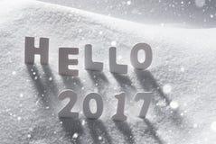 Texto hola 2017 con las letras blancas en nieve, copos de nieve Foto de archivo libre de regalías