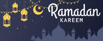 Texto horizontal de la bandera del vector de Ramadan Kareem en la derecha stock de ilustración