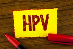 Texto Hpv da escrita Conceito que significa a doença humana da doença de transmissão sexual da infecção do Papillomavirus escrita imagens de stock royalty free