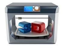Texto impreso 3D en superficie de impresión de la impresora 3D ilustración 3D Fotos de archivo