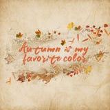 Texto inspirado del otoño con las hojas Foto de archivo libre de regalías
