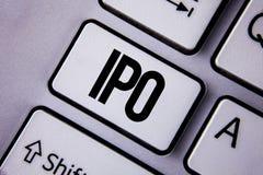 Texto Ipo de la escritura La acción de la primera vez de la oferta pública inicial del significado del concepto de la compañía se Fotos de archivo