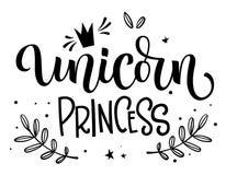 Texto isolado moderm tirado mão da caligrafia de Unicorn Princess com elementos florais, estrelas, decoração do crawn ilustração royalty free