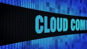 Texto lateral de Cloud Computing que enrolla el tablero de la muestra de la pantalla de la pared del LED almacen de video