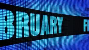 Texto lateral de febrero que enrolla el tablero de la muestra de la pantalla de la pared del LED stock de ilustración