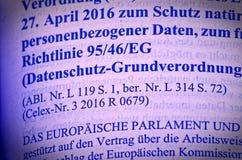 Texto legal do ato básico da proteção de dados como a lei pública da UE com ênfase no acordo do artigo 6 e justificação sem direi imagem de stock royalty free