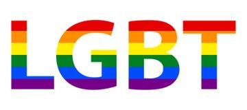 Texto lesbiano, homosexual, bisexual y del transexual de LGBT en bandera del arco iris ilustración del vector