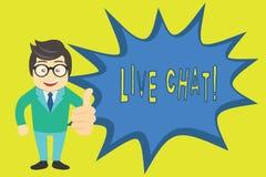 Texto Live Chat da escrita da palavra Conceito do negócio para a conversação na comunicação móvel dos multimédios do Internet ilustração do vetor