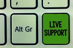 Texto Live Support da escrita Serviço de Web do significado do conceito que permite que os visitantes se comuniquem com o negócio imagens de stock royalty free