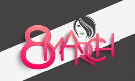 Texto lustroso cor-de-rosa para a celebração do dia das mulheres Imagem de Stock Royalty Free