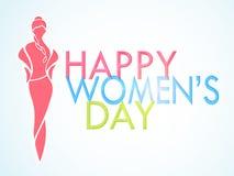 Texto lustroso da celebração do dia das mulheres felizes Imagens de Stock