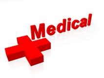 Texto médico com cruz vermelha Fotografia de Stock Royalty Free