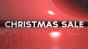 Texto móvil de la venta de la Navidad en fondo rojo almacen de metraje de vídeo