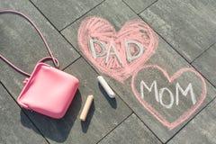 Texto - mamá y papá en corazón imágenes de archivo libres de regalías