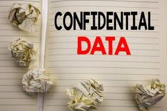 Texto manuscrito que muestra datos confidenciales Escritura del concepto del negocio para la protección secreta escrita en el pap Imagen de archivo libre de regalías