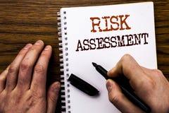 Texto manuscrito que muestra la evaluación de riesgos de la palabra El concepto del negocio para el peligro de la seguridad anali Imagen de archivo