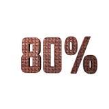 Texto metálico 3D del 80% Foto de archivo