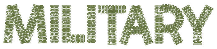 Texto militar com as letras feitas de trilhas do tanque Fotos de Stock Royalty Free