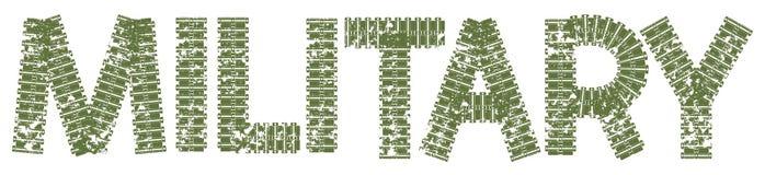 Texto militar con las letras hechas de pistas del tanque Fotos de archivo libres de regalías
