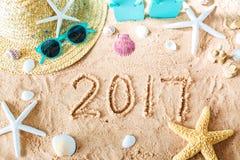 texto 2017 na areia Imagens de Stock