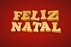 Texto natal de oro de Feliz en un fondo rojo Fotografía de archivo libre de regalías