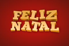 Texto natal dourado de Feliz em um fundo vermelho Fotografia de Stock Royalty Free