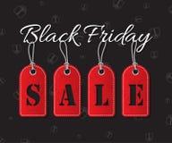 Texto negro de la venta de viernes con las etiquetas rojas en fondo oscuro del día de fiesta Ejemplo del vector de la venta de Bl Foto de archivo