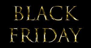 Texto negro metálico de la palabra de viernes del oro amarillo del vintage con reflejo ligero en fondo negro con el canal alfa, c almacen de video