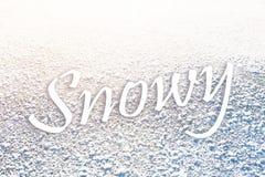 Texto Nevado en congelado Imágenes de archivo libres de regalías