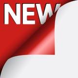 Texto novo no fundo vermelho sob o canto ondulado de Imagem de Stock Royalty Free
