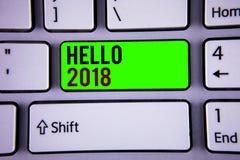 Texto olá! 2018 da escrita da palavra O conceito do negócio para começar uma mensagem inspirador 2017 do ano novo acaba-se agora Imagens de Stock Royalty Free
