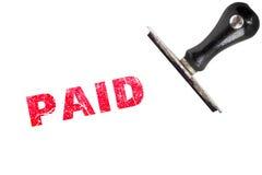 Texto pagado del sello, jefe de la matriz del pago de la paga Imagen de archivo libre de regalías